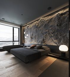 How To Use Lighting And Textures To Add Interest To Dark Interiors Dark decor interiors that feature textured feature walls with modern lighting ideas, including wood slatted wall panels, and rustic stone feature walls. Contemporary Bedroom, Modern Bedroom, Bedroom Decor, Bedroom Wall, Bedroom Ideas, Wall Decor, Stone Feature Wall, Feature Walls, Wood Slat Wall