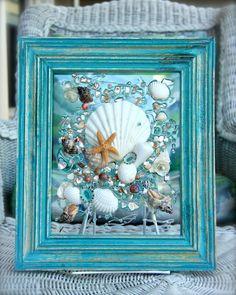 Beach Decor of Seashell Art, Beach Bathroom Decor Wall Hanging, Coastal Wall Art of Shells on Glass, Coastal Decor of Seashell Glass Art by SeaSideCreations1 on Etsy
