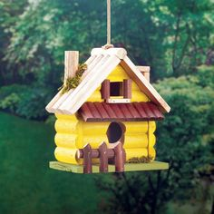 YELLOW LOG HOME BIRDHOUSE