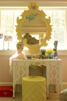 Dressing table and mirror.