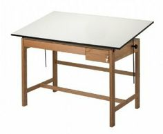 """Titan II Melamine Drafting Table Size: 60"""" Width by Alvin and Co.. $740.71. WLB60 Size: 60"""" Width Features: -Table.-Attractive, functional and durable, designed for larger top sizes.-Angle adjustment from 0 to 45 for Titan II, 0 to 30 for Titan II split top.-Tilt adjustable 37.5'' x 42'' section and 7.5'' x 18'' fixed section.-Optional drawer set with smooth roller bearing slides and keyed lock.-Through bolt hardware used to ensure a lifetime use.-The warp free tabletops ha..."""