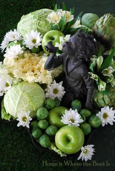 All the green for St. Patrick' Day and merges right into Easter with the cabbage.  Just add a few carrots. Too cute!!