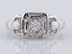 Antique Engagement Ring Art Deco .12ct Old European Cut Diamond in 18k White Gold -FILIGREE JEWELERS MINNEAPOLIS