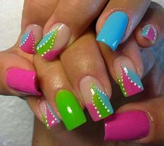 These Gel Nails are ready for Summer to arrive! Bright blue, hot pink, apple green and patterns. Try using our Biosculpture Gel it will last 3 weeks. #gelnails #springnails #nails #nailart