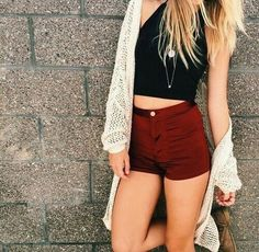 black cropped tank top, maroon high waisted shorts, thin tan long sweater