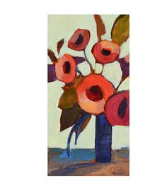 Original abstract floral painting  Thanksgiving decor Red