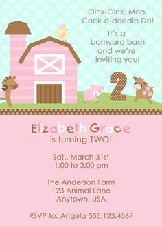 Barnyard Girl Invitation  www.perfectcards.etsy.com