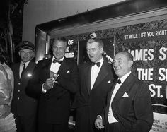 THE SPIRIT OF ST. LOUIS (1957) - Gary Cooper, James Stewart & Jack Warner at movie premiere - Directed by Billy Wilder - Warner Bros. - Publicity Still.