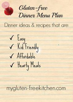 Gluten-free Dinner Menu Plan 1 - ideas for easy, family-friendly gluten-free dinners