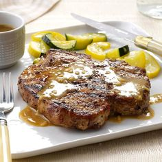 Grilled Bourbon Chops Recipe from Taste of Home Easy Pork Chop Recipes, Pork Rib Recipes, Meat Recipes, Cooking Recipes, Dinner Recipes, Bourbon Recipes, Rub Recipes, Grill Recipes, Cooking Tips