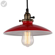 JEMMY HO Loft Pendant Lamp Dia 10 Inch E27 Mini Aluminum Iron Retro Industrial Edison Pendant Lights (Red) - Unique lighting lamps (*Amazon Partner-Link)