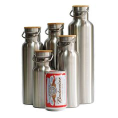Stainless Steel Thermos Double Wall Vacuum Insulated Water Bottles Flasks Mugs Cups Tumblers, with Bamboo Cap