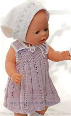 Baby Knitting Patterns Toys Knit doll clothes – Summery and sweet in lilac and white Baby Knitting Patterns, Doll Patterns, Clothing Patterns, Dress Patterns, Knitting Dolls Clothes, Knitted Dolls, Doll Clothes, Baby Cardigan, Doll Costume