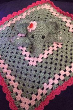 Crochet pink elephant comfort blanket. - The Supermums Craft Fair