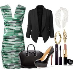 GREEN AND BLACK by may-karemi-mbeke on Polyvore featuring STELLA McCARTNEY, Christian Louboutin, Givenchy, Blue Nile, Lanvin, Chanel and INIKA