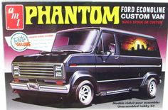 Ford Econoline Phantom Custom Van AMT-kit #767 - 1/25 scale Classic kit from the 1970s popular with customizers Build stock or custom Features three sets of custom bubble windows: gemstone, teardrop,