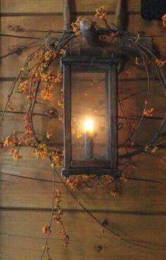 Fall Decor ~ Bittersweet around lantern Autumn Decorating, Porch Decorating, Decorating Ideas, Decor Ideas, Primitive Fall, Fall Harvest, Harvest Moon, Autumn Home, Autumn Inspiration