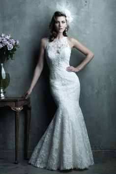 C280 | Allure Bridal | This all-over lace mermaid gown adds a touch of drama with a gorgeous sheer illusion back and sophisticated lace illusion neckline.     Gown available in White, Ivory, Light Gold/Ivory    *Pictured in Ivory    Available at GatewayBridal.com or In Store At Gateway Bridal In Salt Lake City, Utah