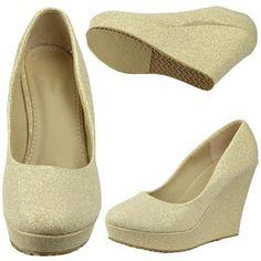 Womens Glitter Accent Slip On Platform Dress Wedge Pumps Gold - Sears