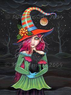 Brujas gato negro otoño Fine Art Print por Molly Harrison