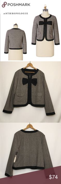 🆕 Anthropologie BOW & ARROW properly jacket 14 New, unworn condition; partial tags attached. Old school anthro. Hook, Eye closures at front. To functional front pockets. Polyester Lined. Tweed; polyester, wool. Shoulder 17.5 bust 44 length 21 Anthropologie Jackets & Coats