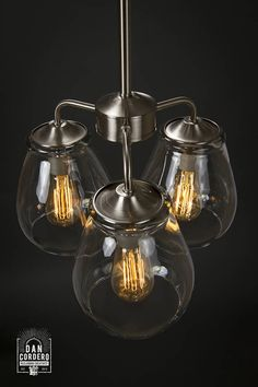 Great way to enhance or remodel your dining room, foyer or business!  Showcased is an Edison Bulb Chandelier inspired by my popular Pear Shaped Pendant Fixture  ----  This Edison Bulb Chandelier Light features:  • E-26 Base Porcelain Sockets; (3) 40 Watt Edison Bulbs Included • 46 Nickel Chain • Installation Hardware Included • Finish: Brushed Nickel • Canopy: 5:  Dimensions:  • Total Cord Length: 46 (contact for custom length) • Glass Height: 7.5″ • Glass Opening: 5″ • Glass Diameter: 6.5″…