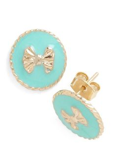 Me and My Boutique Earrings - Vintage Inspired, Green, Gold, Bows, Daytime Party, Mint