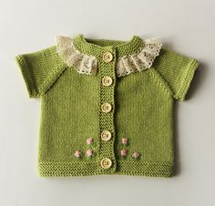 Lace collar knit baby vest merino vest vest with buttons green baby vest with roses MADE TO ORDER