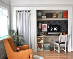 closet office - add a desk instead of anything built-in so it could be transformed into a nursery closet one day