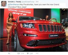Donald Trump Tweets 'Pocahontas' Elizabeth Warren a Jeep Cherokee