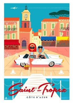 Illustration by Monsieur Z  Find Super Cheap International Flights to Cannes, France ✈✈✈ https://thedecisionmoment.com/cheap-flights-to-europe-france-cannes/
