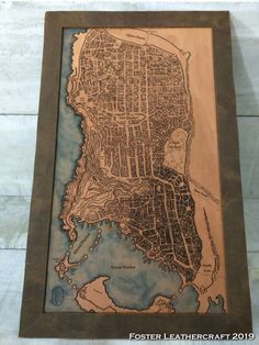 Scale Map, Unique Gifts, Best Gifts, Third Anniversary, Custom Map, Leather Craft, Hand Carved, Carving, Texture