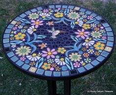 "Handmade Mosaic Table - 16"" round @socialwicker"