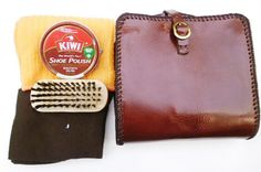 Mans shoe shine kit brown cco leather pouch by G2Pleather on Etsy