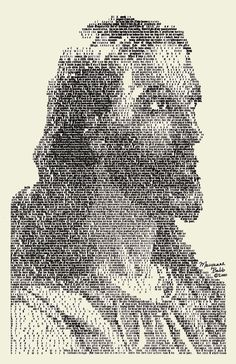 "Inspired by Warner Sallman's ""Head of Christ"" (1941), this portrait of Jesus is made up entirely of text from the Bible, specifically I Corinthians Chapter 13; ""Love is patient, Love is kind..."" (also known as the Love Chapter). The text is legible when viewed from close up, but becomes a quite detailed portrait of the Son of God when viewed from a distance. Wow!"