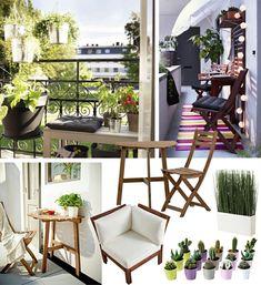 Kleinen Balkon Gestalten, Collage Mit Den Passenden Möbeln Und Ideen,  Kaktus Blumen, Stilvoller