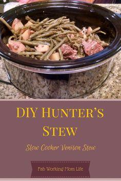 DIY Hunter's Stew aka Slow Cooker Venison Stew - Meat Recipes Deer Steak Recipes, Ground Venison Recipes, Stew Meat Recipes, Slow Cooker Recipes, Game Recipes, Deer Meat Recipes Ground, Crockpot Venison Recipes, Recipes With Deer Meat, Venison Meals