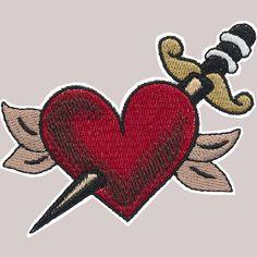 Tatouage coeur avec fer de dague sur Patch - Rockabilly, Psychobilly, nautique, Punk - Poofhawk