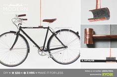 Create a minimalist bike rack out of copper pipe fittings with HomeMade Modern. Indoor Bike Rack, Diy Bike Rack, Bike Hanger, Copper Pipe Fittings, Cedar Table, Diy Outdoor Bar, Homemade Modern, Diy, Home