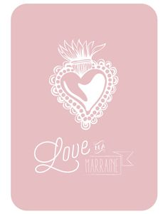 Carte ©Catho Rétro « Love ma marraine » - rose dragée - Catho Rétro