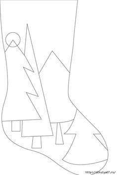Festive Tree Christmas Stocking - this on a tree skirt! Felt Christmas Decorations, Felt Christmas Ornaments, Diy Christmas Gifts, Christmas Projects, Christmas Holidays, Quilted Christmas Stockings, Christmas Stocking Pattern, Xmas Stockings, Christmas Sewing