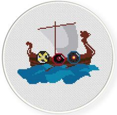 FREE for April 19th 2014 Only - Viking Boat Cross Stitch Pattern