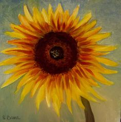 A New Mexico Sunflower. Oil on panel, 6x6.