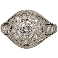 Art Deco Diamond White Gold Ring | From a unique collection of vintage engagement rings at http://www.1stdibs.com/jewelry/rings/engagement-rings/
