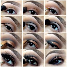 Eye Makeup Tips.Smokey Eye Makeup Tips - For a Catchy and Impressive Look Make Up Gold, Eye Make Up, Love Makeup, Makeup Tips, Makeup Ideas, Pretty Makeup, Scary Makeup, Prom Makeup, Makeup Lessons