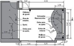 Conheça as marcações comuns feitas nas plantas de forros de placas de gesso, como locais de fixação, passagem de redes e luminárias
