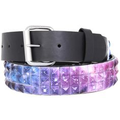 Galaxy Pyramid Stud Belt | Hot Topic ($20) ❤ liked on Polyvore featuring accessories, belts, jewelry, 31. belts., galaxy and pyramid stud belt
