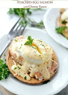 Poached Eggs Salmon with Cheese Sauce - Salmon fillets topped with soft poached eggs and a delicious homemade cheese sauce Savory Salmon Recipe, Delicious Salmon Recipes, Easy Salmon Recipes, Yummy Food, Brunch Recipes, Seafood Recipes, Cooking Recipes, What's Cooking, Breakfast Dishes
