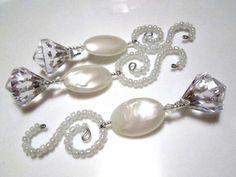 Pearlescent Losenge Diamond Dangle Christmas Ornaments on Beaded Spiral Hooks - Set of 3