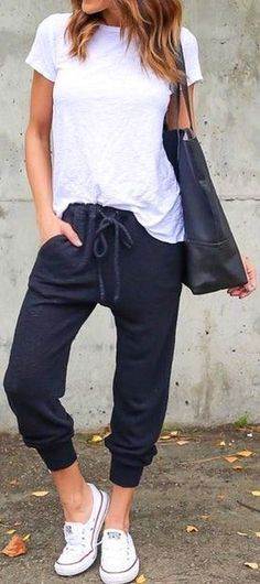 Black Lazy Day Pants // White Top // White Converse